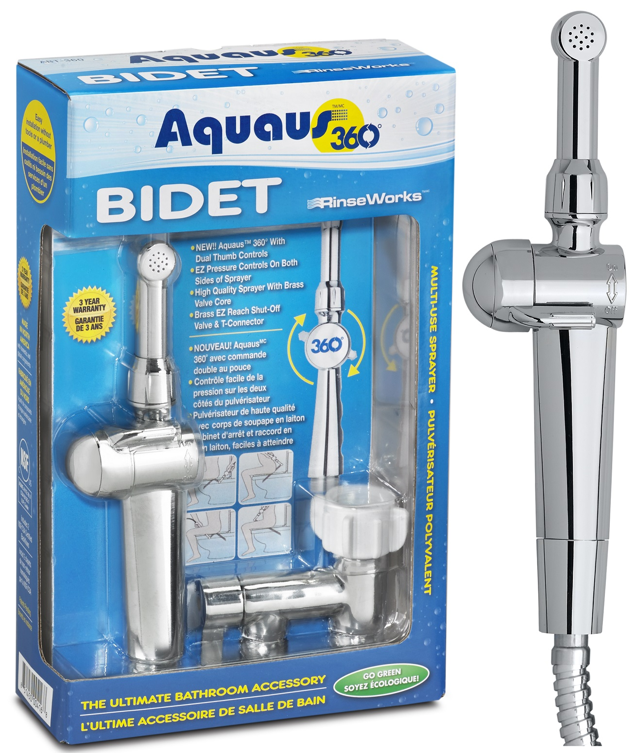 Aquaus Handheld Bidet for Toilet NSF Certified 3 Year Warranty Made in the USA