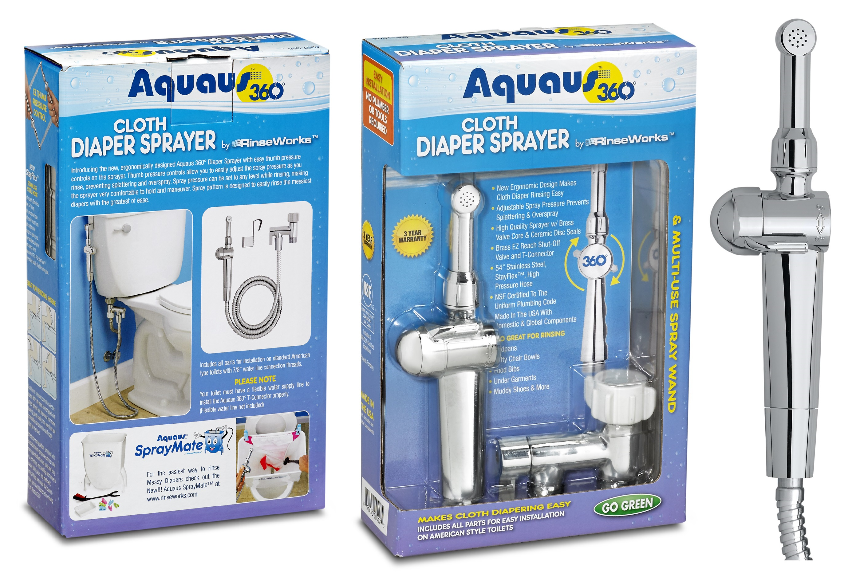 Aquaus 360 diaper sprayer Box