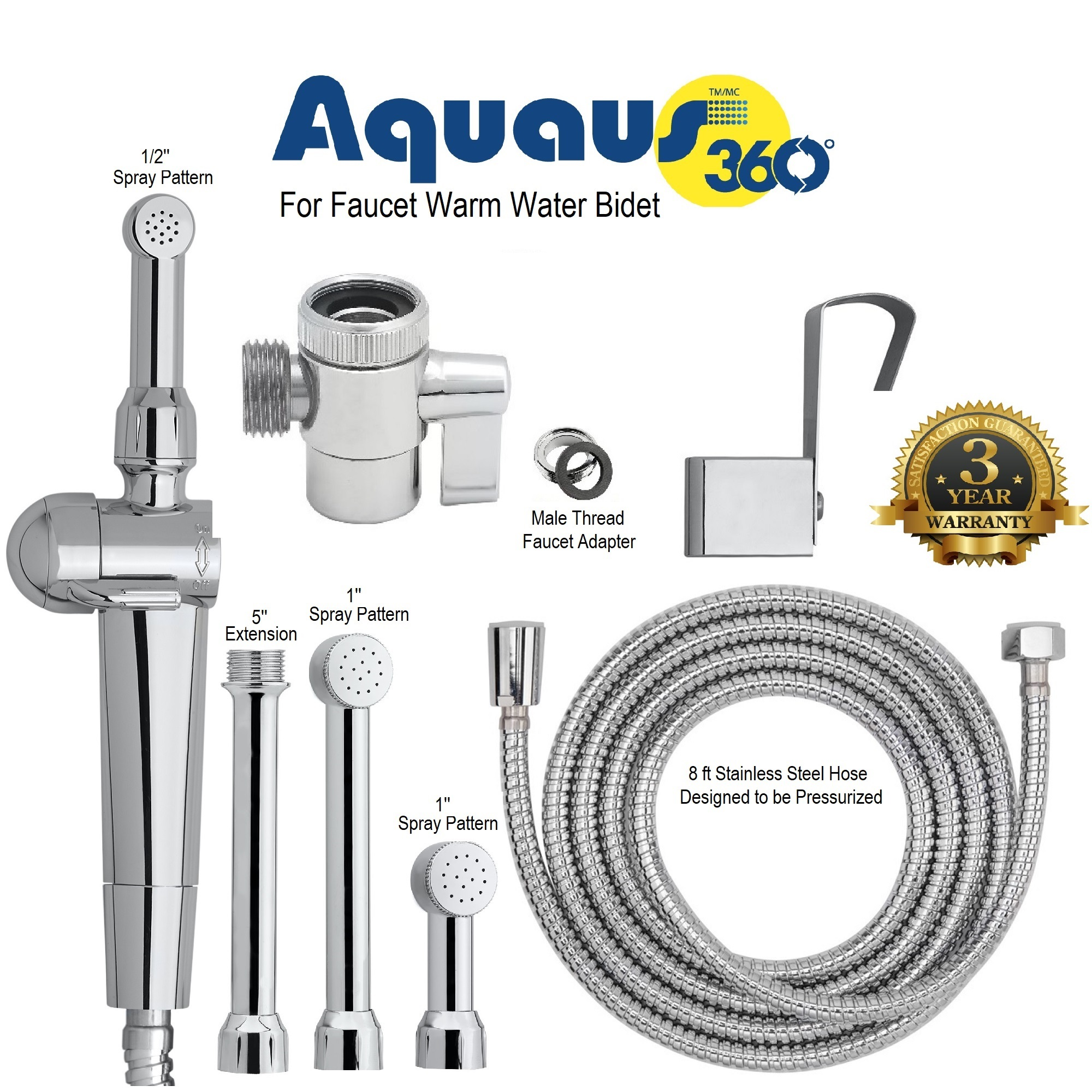 Aquaus 360 Hand Held Bidet For Faucet W Stainless Steel Hose